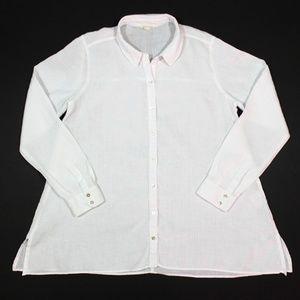 Eileen Fisher Linen Button LS Handkerchief Tunic